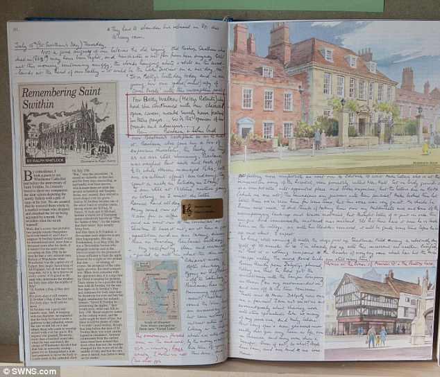 John Gadd diaries include drawings and newspaper clippings