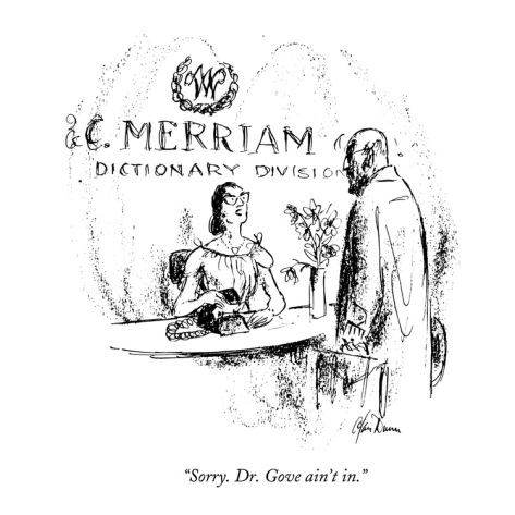 """Sorry, Dr. Gove Ain't In"" by Alan Dunn, The New Yorker, 1962"