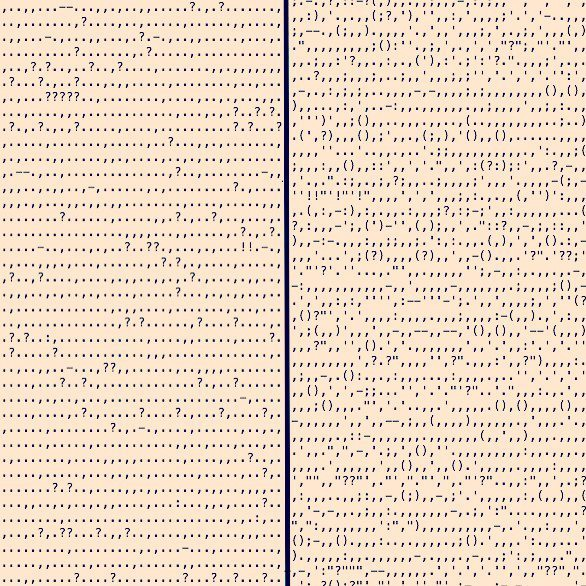 Adam Calhoun: Punctuation in Blood Meridian by Cormac McCarthy (left) and in Absalom, Absalom! by William Faulkner (right). Via:medium.com