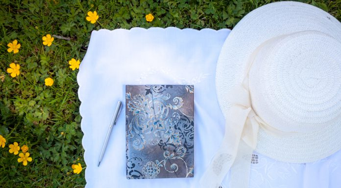 Paperblanks journal notebook on grass