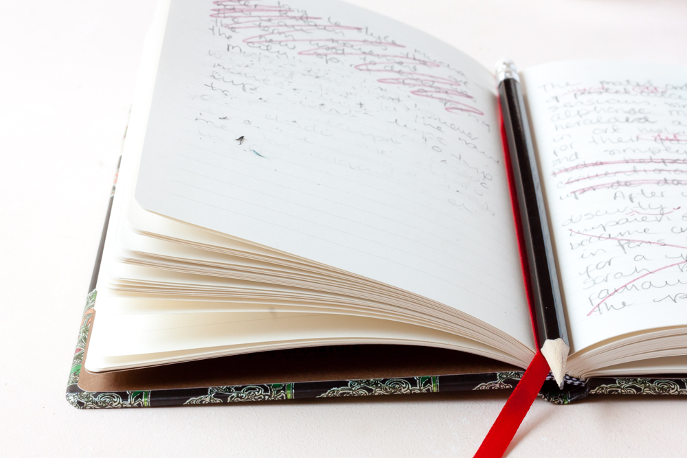 Handwriting in journal notebook