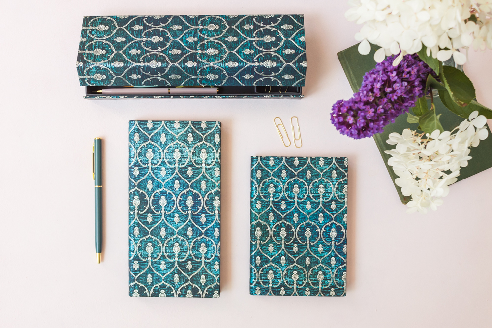Paperblanks Blue Velvet journals and pencil case